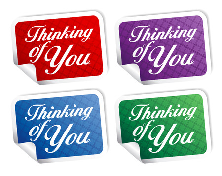 Thinking of you stikers set. Vector