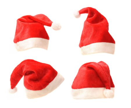headwear: Santa hats collection isolated on white background
