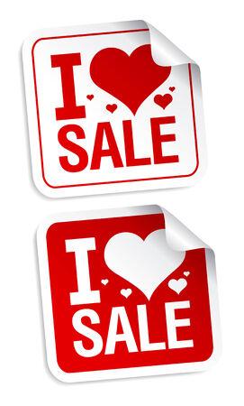 I love sale stickers set. Vetores
