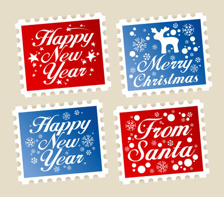 Christmas postage stamps from Santa. Stock Vector - 8265532