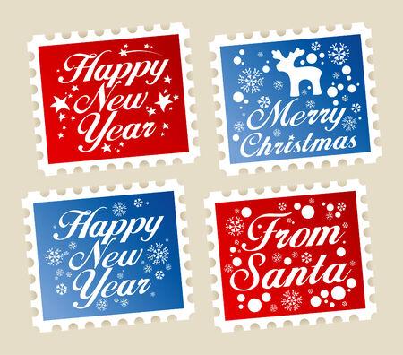 happy new year stamp: Sellos postales de Navidad de Santa.  Vectores