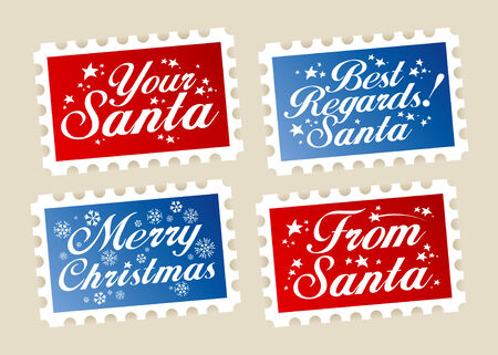 Christmas postage stamps from Santa. Vector