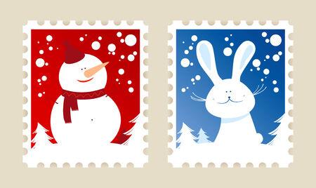 happy new year stamp: Conjunto de sellos postales de Navidad.  Vectores