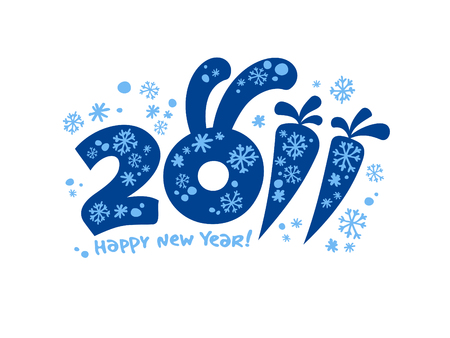 New Years card 2011, illustration. Vector
