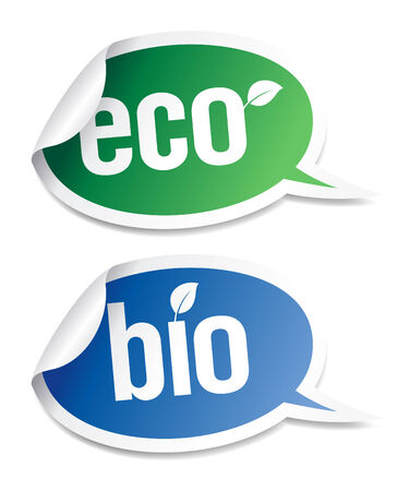 Set of natural bio product stickers in form of speech bubbles.  Vector