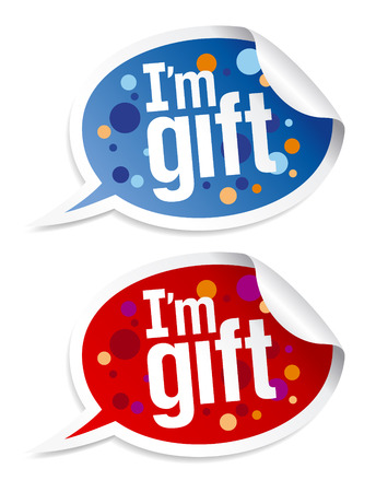 im: I`m gift stickers set in form of speech bubbles.