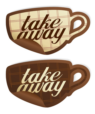 Take away stickers in form of coffee cup. Stock Vector - 8340826