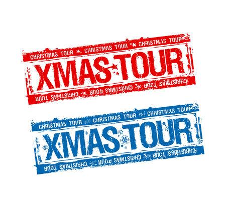 Christmas tour stamps set. Vector