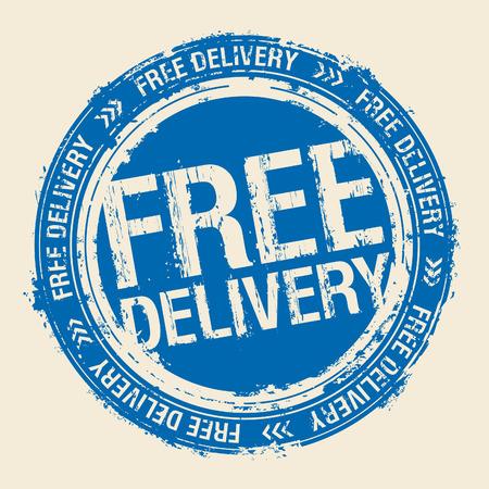 sello de goma: Sello de caucho de entrega gratuita. Vectores