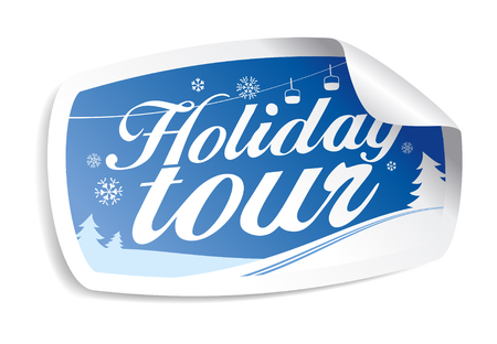 Holiday tour sticker. Vector