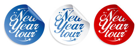 New Year tour stickers set. Vector