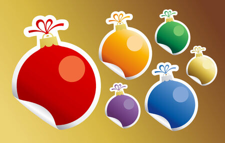 Stickers in form of Christmas Ball Toy. Stock Vector - 8340843