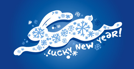 New Years card with lucky running rabbit. Vector