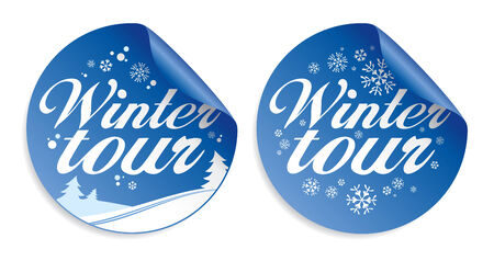 Christmas tour stickers set. Vector