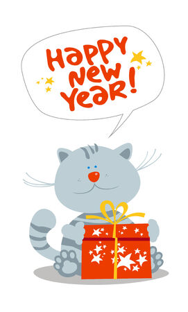 hogmanay: Card with cute little kitten with new years gift. Illustration