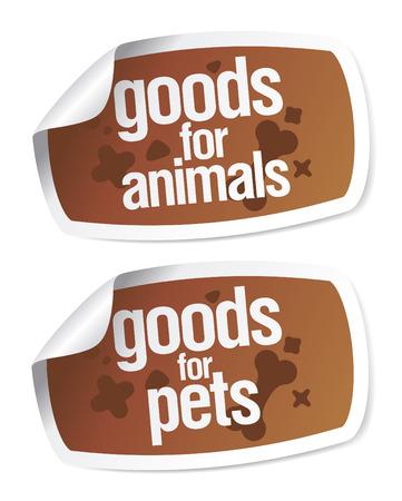 mercancías para el conjunto de pegatinas de mascotas Ilustración de vector