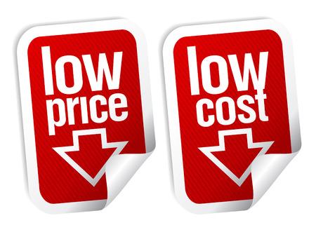 low price: Adesivi di basso prezzo impostato con ombra.