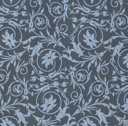 Blue textile background with floral ornament photo