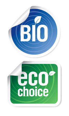 Set of eco choice stickers, bio products. Stock Vector - 8457832