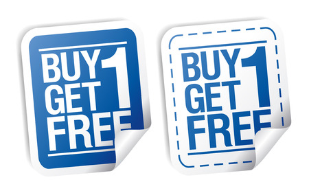 Buy one get one free, promotional sale stickers set. Vector