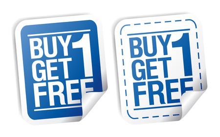 Comprar un conjunto pegatinas de venta libre, promocional uno de get. Ilustración de vector