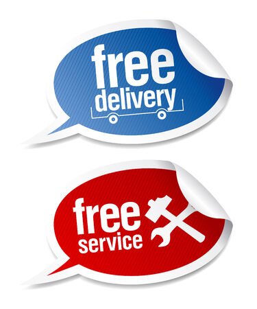 Free delivery, free service stickers in form of speech bubbles.  Vector