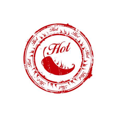 chili caliente rojo grabar sello