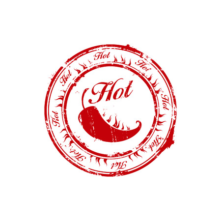 red hot chili burn stamp Vector