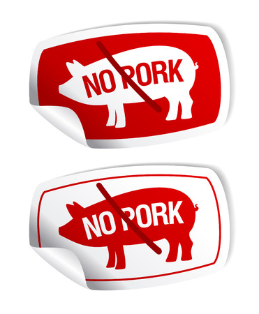 No pork vector stickers set. Vector