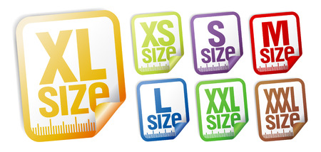 size clothing stickers set Stock Vector - 8457837