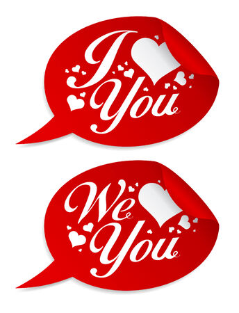 I love you Valentine stickers in form of speech bubbles. Vector