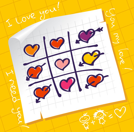 Tic Tac Toe Hearts, Valentine background. Vector
