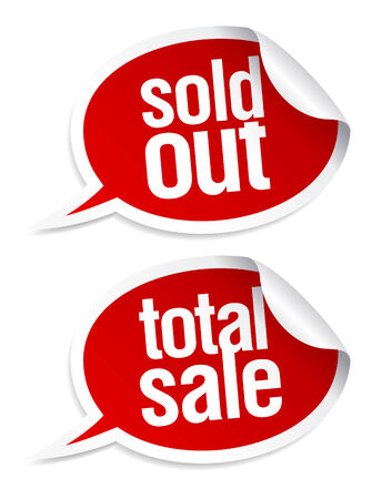 Sold out, total sale stickers set in form of speech bubbles. Vector
