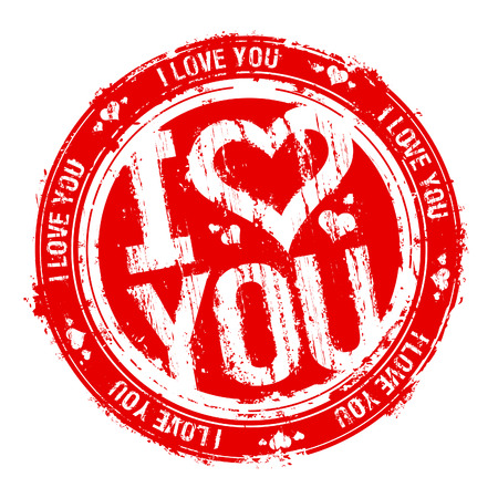 love card: I love you rubber stamp. Illustration