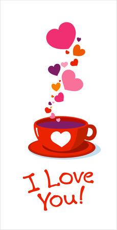 Tazza di tè con cuori di amore.