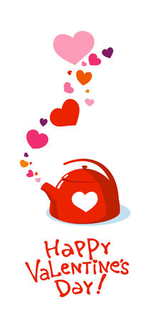 Valentine kettle with love hearts. Vector