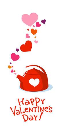 Valentine waterkoker met liefde hart. Vector Illustratie