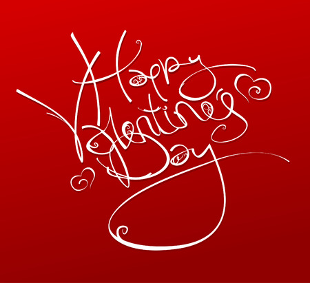 inscription: Happy Valentines Day inscription with hearts, vector illustration.