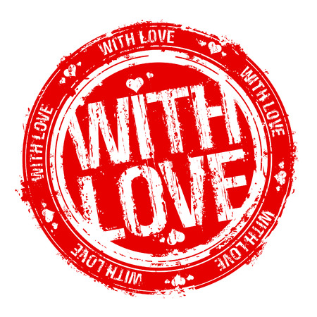 watermark: With love  rubber stamp. Illustration