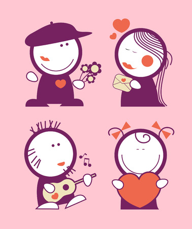 sweet love: Set of Valentine in love funny peoples icons.