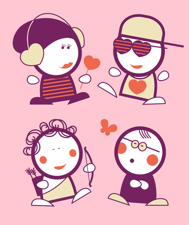 Set of Valentine in love funny peoples icons. Vector