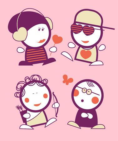 emo: Set van Valentijn in liefde grappige volkeren pictogrammen.
