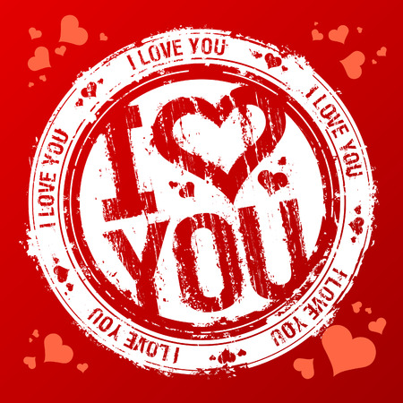 watermark: I love you  rubber stamp. Illustration