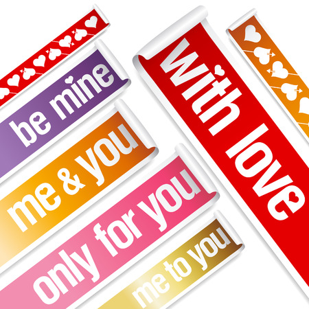 Big Valentine stickers set. Vector