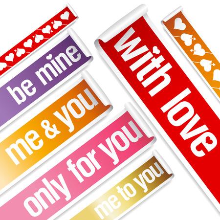 be mine: Big Valentine stickers set. Illustration