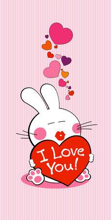 te amo: I love you bunny con coraz�n. Vectores