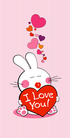 I love you bunny with heart. Vector