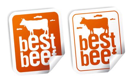 Best beef for steak stickers set Stock Vector - 8618878