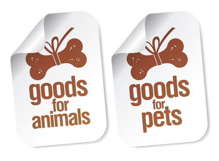 goods for pets stickers set Vector