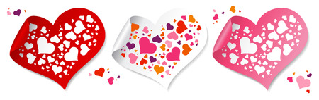 Fun confetti stickers in form of hearts. Stock Vector - 8618949